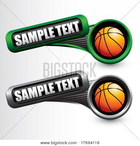 basket balls on modern style tilted banners colored green and gray
