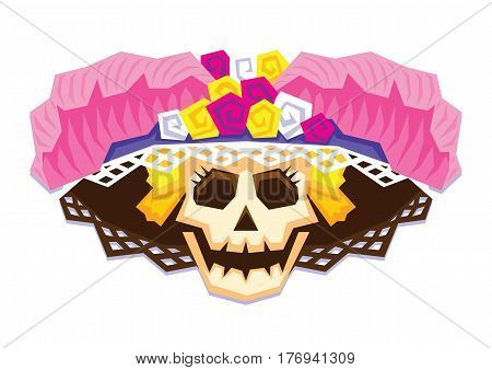 Vector Mexican Skull Isolated On White Background