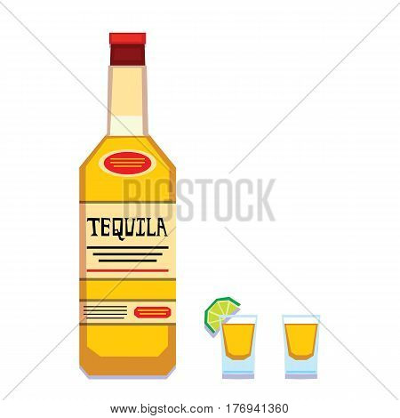 Vector Tequila Bottle And Glasses Isolated On White Background