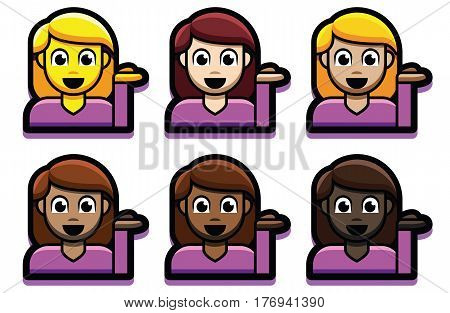 Vector Set Of Girl Emojis Isolated On White Background