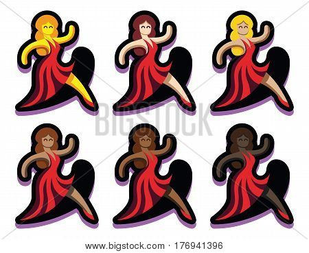 Vector Set Of Dancers Isolated On White Background