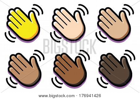 Vector Set Of Weaving Hands Isolated On White Background