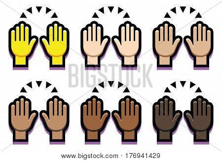 Vector Set Of Hands Up Isolated On White Background