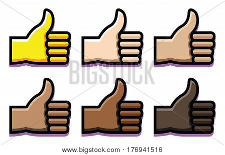 Vector Set Of Thumbs Up Isolated On White Background