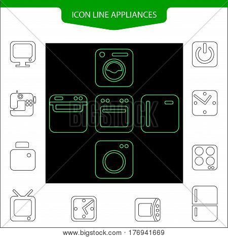 Set line icons home appliances. washing machine, refrigerator, microwave sewing machine, TV, watch start button. button for web