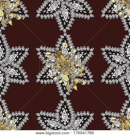 Seamless pattern on brown background with golden elements. Seamless classic vector golden pattern. Classic vintage background. Traditional orient ornament. Vector illustration.