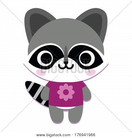 Vector Cute Happy Raccoon Isolated On White Background
