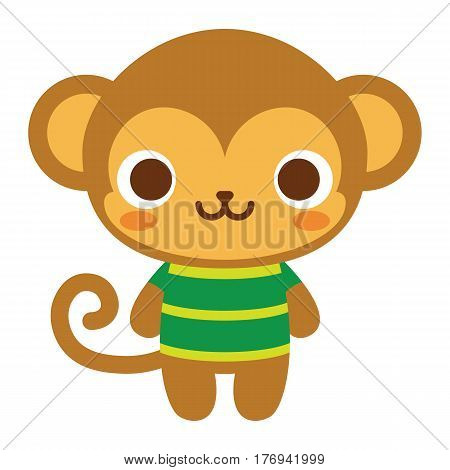Vector Cute Happy Monkey Isolated On White Background