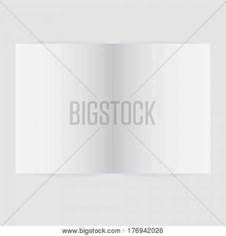 Blank magazine spread template vector illustration. Empty open booklet.