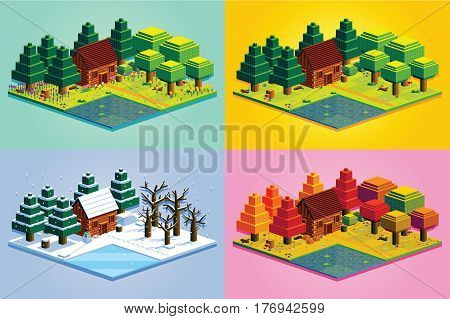 Vector Set Of Four Seasons Forest Scene Isolated Illustration