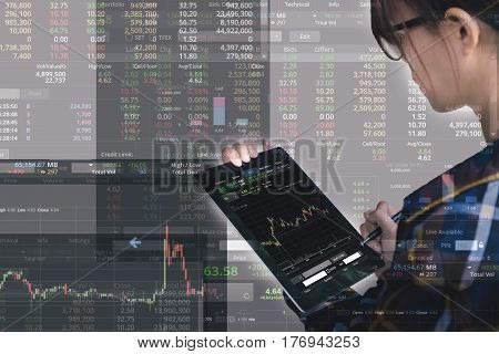 Double exposure of business woman with glasses in hipster shirts holding tablet for check stock market graph Business Trading concept