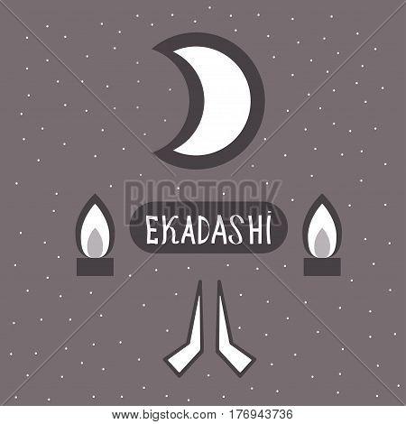 Ekadasi. the eleventh day. Hindu holiday. Shadow on a dark background. vector illustration.