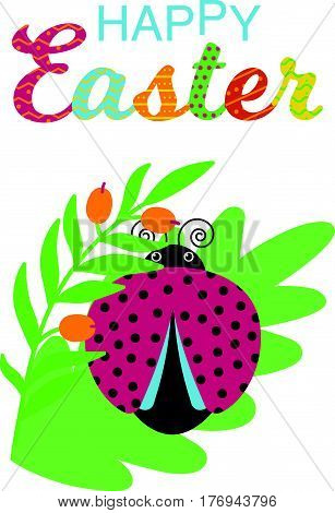 Happy Easter card with ornate text. .Cartoon lady bug and flowers..Vector illustration.