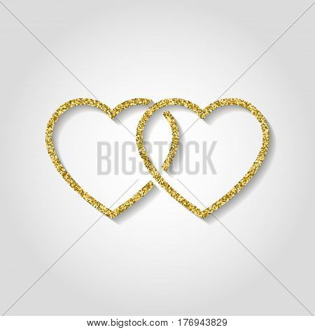 glitter icon. Double heart of gold logo. love symbol. use in decoration, design as the emblem. vector illustration.