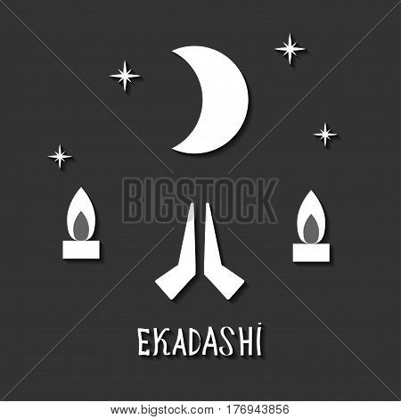 Ekadasi. the eleventh day. Hindu holiday. Black background. vector illustration.