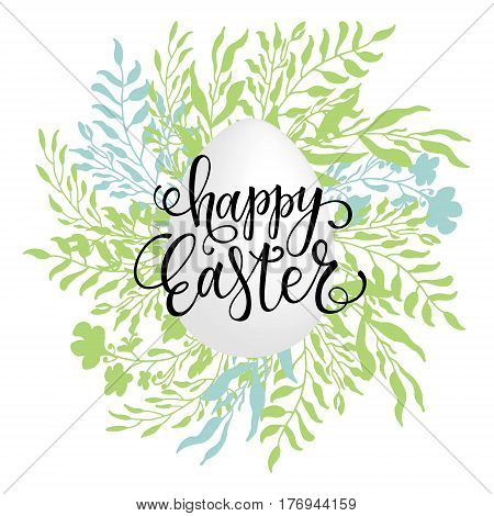 Happy Easter lettering on the hand drawn floral wreath. Realistic 3D Easter egg. Congratulation card.