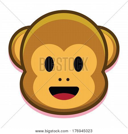 Vector Cartoon Cute Monkey Face Isolated On White Background