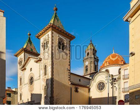 Church of sant Feliu (Parroquia de Sant Feliu) in municipality Torello, province Barcelona, Spain.