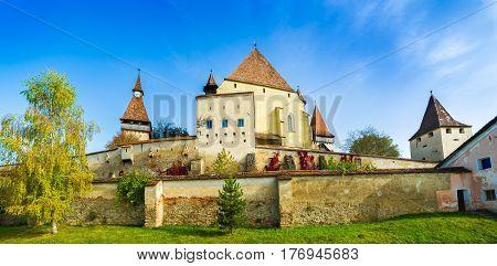 Beautiful medieval architecture of Biertan fortified church in Sibiu Romania.