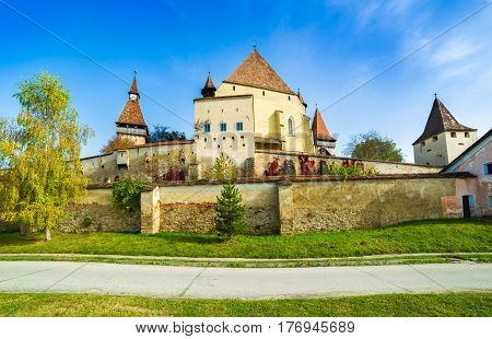 Beautiful medieval architecture of Biertan fortified church in Sibiu Romania protected by Unesco World Heritage Site