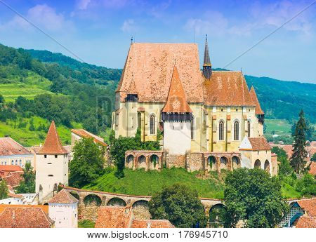 Beautiful medieval architecture of Biertan church in Sibiu Romania