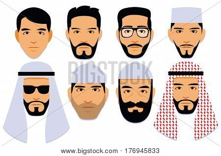 Vector Set Of Different Middle Eastern Men