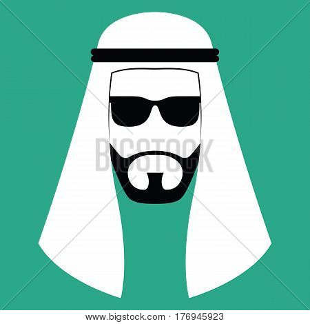 Vector Minimalist Middle Eastern Man Face Isolated