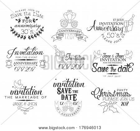 Special Occasion Hand Drawn Invitation Set Of Artistic Decorative Vector Design Writing