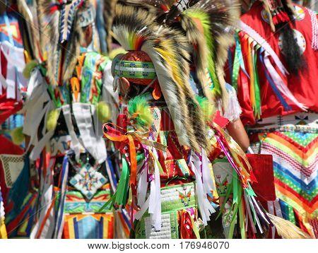 Colorful Native American Regalia at a Summer Powwow