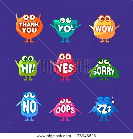 Monster With Words In Mouth For Teeth Set Of Funny Cartoon Emoticon Character Sticker Isolated On Blue Background