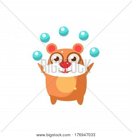 Bear Party Animal Icon In Primitive Funny Flat Cartoon Style Isolated On White Background