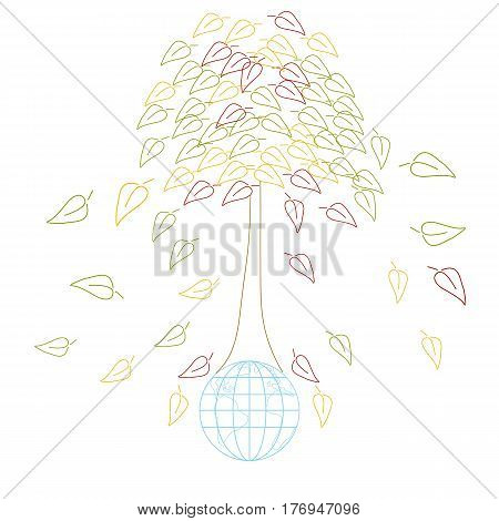 Ecology concept with Earth and tres. International Mother Earth Day environmental movement vector illustration