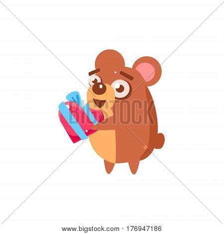 Hamster Party Animal Icon In Primitive Funny Flat Cartoon Style Isolated On White Background