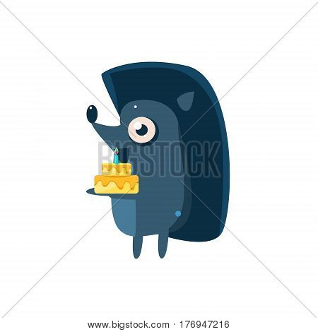 Hedgehog Party Animal Icon In Primitive Funny Flat Cartoon Style Isolated On White Background