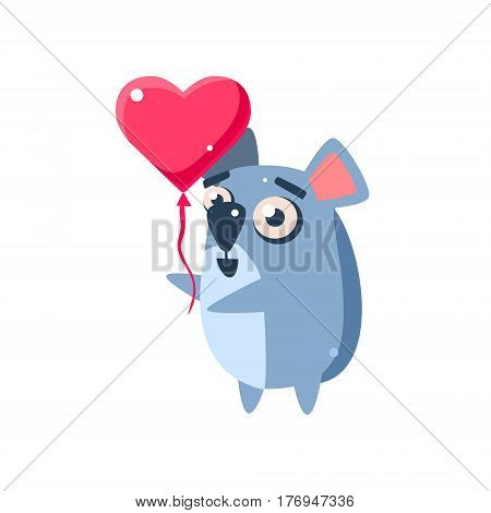 Koala Party Animal Icon In Primitive Funny Flat Cartoon Style Isolated On White Background
