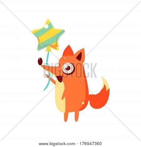 Fox Party Animal Icon In Primitive Funny Flat Cartoon Style Isolated On White Background
