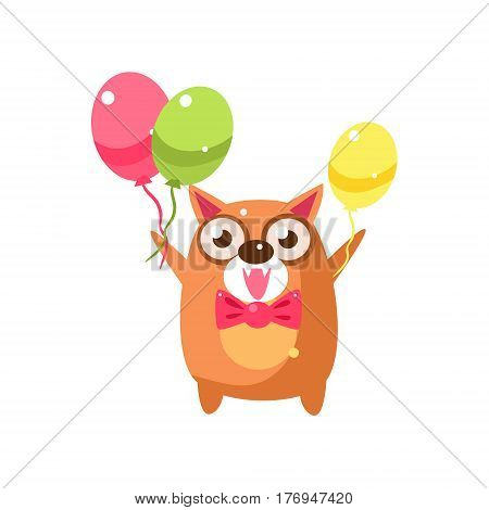 Cat Party Animal Icon In Primitive Funny Flat Cartoon Style Isolated On White Background