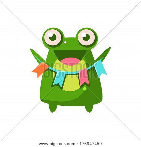Frog Party Animal Icon In Primitive Funny Flat Cartoon Style Isolated On White Background