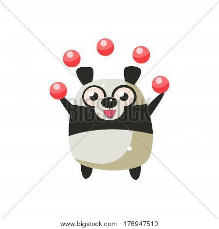 Panda Bear Party Animal Icon In Primitive Funny Flat Cartoon Style Isolated On White Background