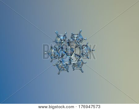 Macro photo of real snowflake: medium size snow crystal of star plate type with six short, pointy arms, and glossy, relife surface. Snowflake glitters on smooth blue - gray gradient background.