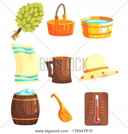 Russian Bathhouse Inventory Set Of Flat Cool Cartoon Vector Illustrations Isolated On White Background