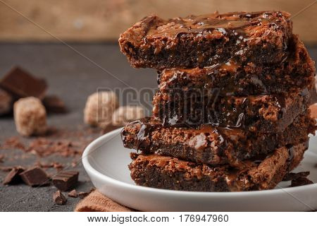Brownie. Homemade Cake With Chocolate And Caramel. American Dessert. Selective Focus