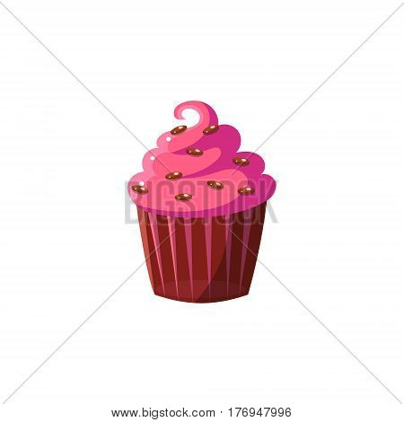 Cute Cupcake With Pink Icing Flat Vector Cute Girly Style Isolated Sticker On White Background
