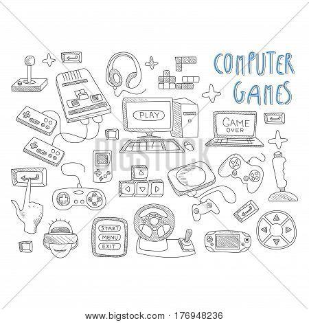 Computer games doodles icon set vector illustration