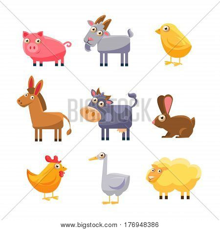 Cute Farm Animal Collection. Vector Illustration Set