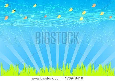 Vector Illustration Design. Birds On A Meadow Fly
