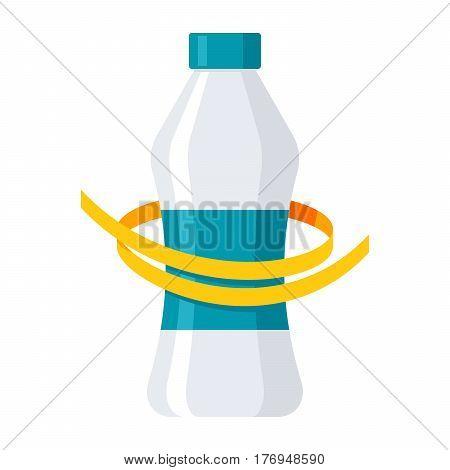 Diet concept, measuring metre round a bottle, vector illustration in flat design