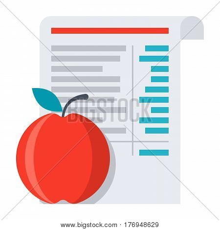 Diet concept, menu and apple, vector illustration in flat style