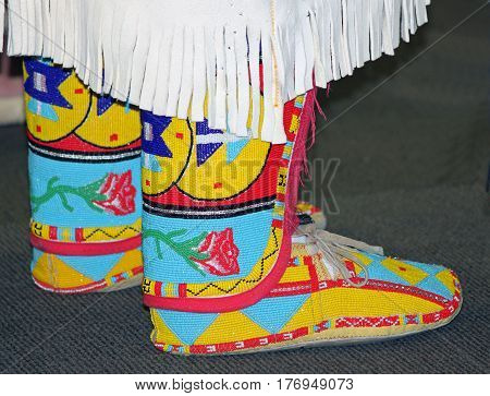 Colorful Native American Leather Beaded Moccasins with Rose Design