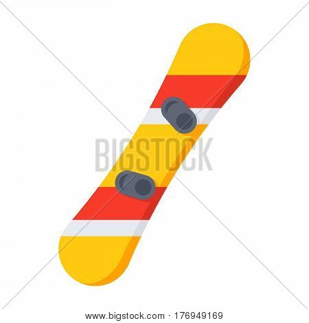 Top view of snowboard with bindings, vector illustration